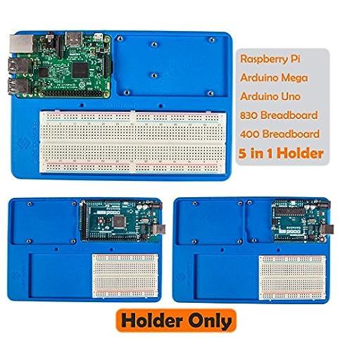 SunFounder RAB 5 in 1 Breadboard Holder Base Plate Circuit Board Screws for Arduino Uno R3 Mega 2560, Raspberry Pi 3 Model B,2 Model B and 1 Model B+ 400 800 Points Breadboard Jumper Dupont Wires - 2 Header