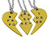 Hanessa Freundschafts-Halskette für Mädchen in Gold (3 Stück) Best Friends Forever Liebe Herz Damen-Schmuck Geschenk zu Weihnachten für die Freundin