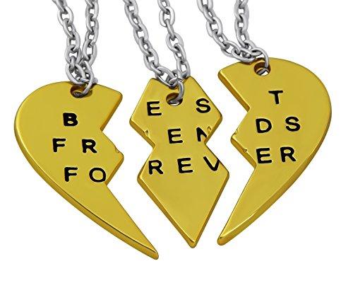 Hanessa Freundschafts-Halskette für Mädchen in Gold (3 Stück) Best Friends Forever Liebe Herz Damen-Schmuck - 3 Stück Mutter-töchter-halskette,