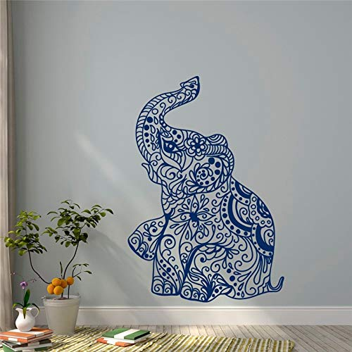 hllhpc Elefant Yoga Wandtattoos Indie Wandkunst Schlafzimmer Wohnheim Kindergarten Boho böhmischen Bettwäsche Dekor Innenarchitektur Tapete Wandbild 56x81cm (Weiße Bettwäsche-schrank-glas-türen)