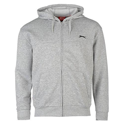 Leaf Zip Hoodie (Slazenger Herren Zip Hoody Langarm Freizeit Hoodie Kapuzenpullover Sweatshirt Grau Medium)