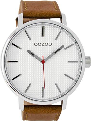 Oozoo Herrenuhr mit Lederband 48 MM Weiss/Braun C9001