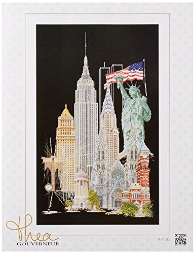 Thea Gouverneur New York auf Schwarz Aida Kreuzstich-Set, Mehrfarbig - Kreuzstich-thea Gouverneur
