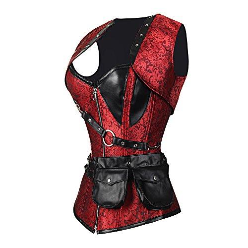 FeelinGirl Damen Korsett mit Stahlstäbchen - Brokatmuster - Retro/Gothic/Steampunk-Stahl ohne Knochen Rot mit 24 Stäbchen