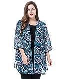 Chicwe Damen Chiffon Große Größen Kimono Kaftan mit Trim Manschette & Saum 58 Mehrfarbig