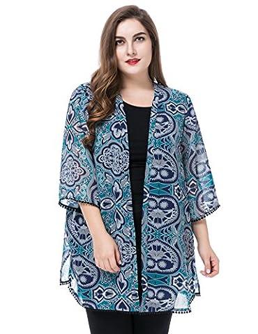 Chicwe Femme Grande Chiffon Kimono Kaftan avec Tailler Manchette & Ourlet 52, Multi Sarcelle