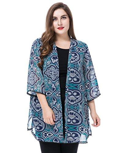 Chicwe Damen Chiffon Große Größen Kimono Kaftan mit Trim Manschette & Saum 56 Mehrfarbig (Stretch-trim Fit-jeans)