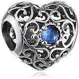 Pandora Damen-Charm September Herz 925 Silber Saphir blau - 791784SSA
