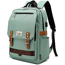 Mochila para portátil, mochila escolar para portátil de 15.6 pulgadas con puerto de carga USB para hombres y mujeres(verde)