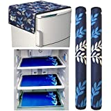 Factcore Premium Quality Combo of Exclusive Decorative Kitchen Combo Fridge Top Cover(Blue Leaf), Fridge Handle Covers (Blue Leaf)+ 3 Fridge Mats (Blue Leaf), 6 Piece Set)