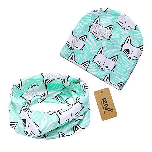 iZiv Babybekleidung Schals Niedliche Baby Kleinkind Kinder Cartoon drucken Hut Kappe Mütze + Schal Warp Set für 0-2 Jahre (Fuchs)