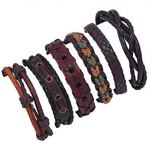 LPRWEC Europa und Amerika Retro Weaving Rindsleder Armband Sechs-teiliges Set mehrschichtiges echtes Leder Armband Manschette für Männer, MS, Jungen und Mädchen, Teenager