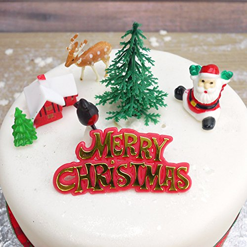 Retro Christmas Cake Decorations Set - just like back in the 80s
