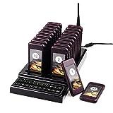 T111 Drahtloses Gästeruf- Kundenrufsystem Paging-System 20 Pager mit 20 Batterieauflade-Steckplätze für Restaurant Food Court Pizzeria Kirche und Auto Show (Klassisch)