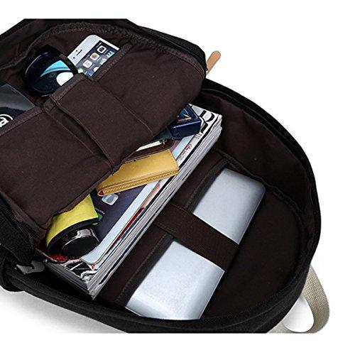 Ambielly Schulart- Rucksäcke verdickte Leinwand Laptop-Beutel-Schulter Daypack-Schule-Rucksack-verursachende Handtasche (Schwarz) Schwarz