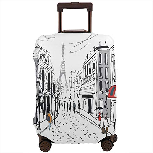 Travel Suitcase Protector,Illustration of Old French Pedestrians Stores Trees and The Silhouette of Eifffel Urban Design,Suitcase Cover Washable Luggage Cover S