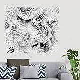 Hippie Año Japonés Dragón Nubes pintura Mythos Animales Folklore pared pared pared pared Tapiz decorativo Gobelin pared Decoración Sofá Funda Cabecero Tela de fondo 200x150cm blanco