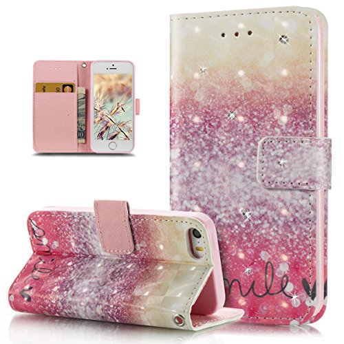 Custodia iPhone 5S, iPhone SE Cover, ikasus® iPhone 5S/iPhone SE Custodia Cover [PU Leather] [Shock-Absorption] Fiore Dreamcatcher Modello Colorato verniciato con Bling Gitter scintillante Strass Bril Rosa deserto