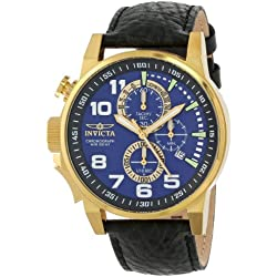 Invicta Men's 13055 Force Chronograph Blue Dial Black Leather Watch