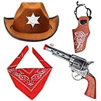 Beefunny Western Cowboy Costume Accessories 3 Pieces Set Fancy Dress Cowboy Hat, Bandana & Gun and Holster Set Wild West Accessory