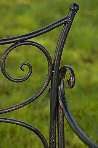 formschöne Gartenbank im Landhausstil aus Eisen / Metall Sitzbank mit Ornamenten bronzefarben 2-3er Parkbank Antikes Design - 6