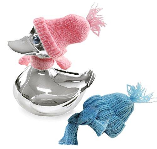 EDZARD Spardose Ente, edel versilbert, anlaufgeschützt, Höhe 13 cm, mit Schal und Mütze in rosa und hellblau
