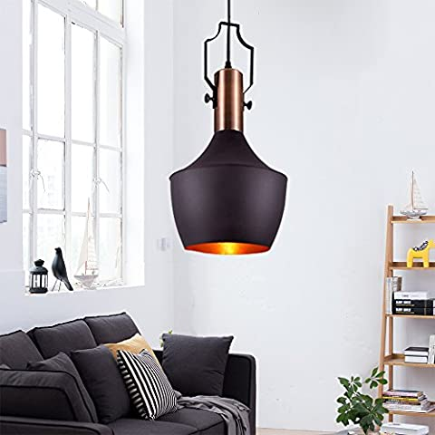 MSTAR Retro Industrial Pendant Light Black Metal Antique 1-Light Pendant Ceiling Light Shade for Kitchen Restaurant Bar