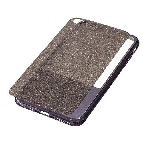 Wkae Galvanisierungsspiegel TPU Schutzhülle für iPhone 7 Plus ( Color : Gold ) Black