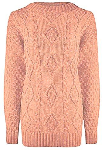 C25 Damen Pullover Kabelmuster Strick Große Größen Lang 36 - 50 - S/M (EU 36-38), Nude/Pfirsich (Pfirsich-strick-pullover)