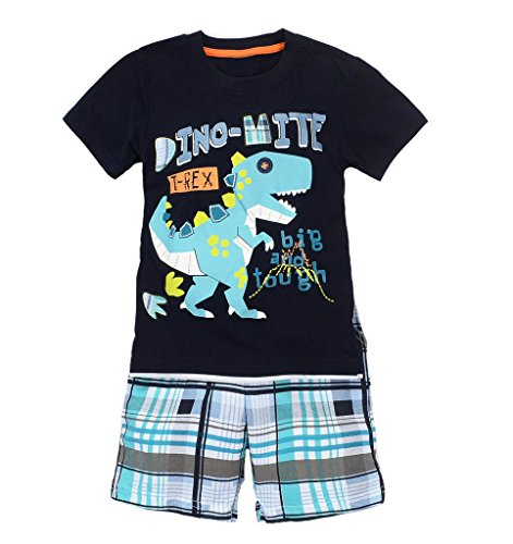 Coralup Little Boys Dinosaur Short Sleeve Set 2Pcs T-Shirt&Pants