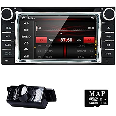 HIZPO Car in Dash Stereo 2Din GPS DVD Player Navigation Radio support BT/SWC/Rear camera/Subwoofer fit for TOYOTA with LED Backup Camera 8GB Card