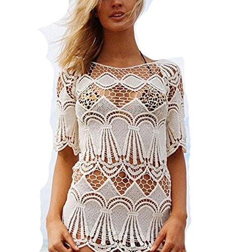 WANGXN Womens Net Garn Hollow Beach Kleider Sonnenschutz Strick Bluse Bikini Jacke White