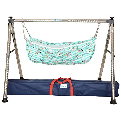 Indian Style Semi - Folding Stainless Steel Ghodiyu (Baby Cradle) with Hammock