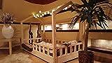 HAUSBETT KINDERHAUS Bett für Kinder,Kinderbett Spielbett mit SICHERHEITBARRIEREN