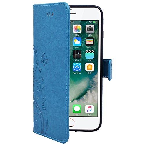 HB-Int PU Leder Hülle für iPhone 7 Wallet Lederhülle Standfunktion Kreditkartenfächer Handytasche Schmetterling Drucken Muster Schutzhülle mit Handschlaufe Magnetverschluss Ledertasche Klapp Etui Prot Blau