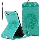 Slynmax Mandala Flip Tasche Slynmax Hülle Kompatibel mit Apple iPhone 7/iPhone 8 4,7 Zoll Hülle Weich Kunstleder Fordable Ledertasche Brieftasche Lederhülle Slim Handyhülle Klapphülle Stand Karte,Grün