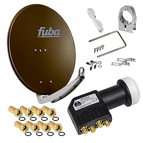 FUBA 4 Teilnehmer Digital SAT Anlage DAA650B braun + Hochwertiger marken Quad LNB 0,1dB FULL HDTV 4K + 8 x Vergoldete F-Stecker