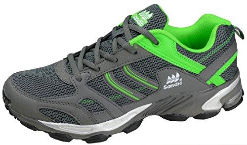 gibra® Herren Sportschuhe, sehr leicht und bequem, dunkelgrau/neongrün, Art. 6527, Gr. 43