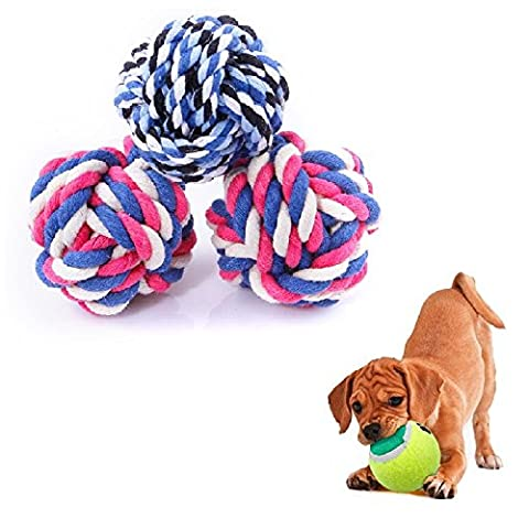 3Piece Puppy Dog Cat Pet Rope Chew toys Cotton rope ballNatural Cotton Knotted Candy type Molar Brusn teeth Safe Healthy