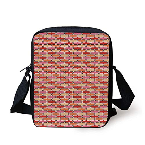 Retro,Color Bands Round Edged Shapes in Horizontal Direction Vivid Colored Pattern,Scarlet Pink Yellow Print Kids Crossbody Messenger Bag Purse -