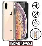 New&teck Coque 360 Degré iPhone XS – Protection intégrale Avant + Arrière en Rigide, Housse Etui Tactile 360 degré – Antichoc, Transparent Apple iPhone XS