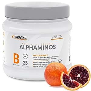 BCAA Pulver (Aminosäuren) sensationeller Geschmack   Aminos 2:1:1 (Leucin, Isoleucin, Valin) Hochdosiert, Vegan   Für Muskelaufbau, Abnehmen & Sport   PROFUEL Alphaminos 300g - BLUTORANGE