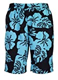 Bugatti ® - modern men's swim shorts with florall design in black/jade