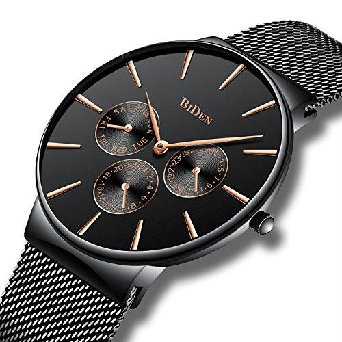 Orologi di moda uomo semplice nero uomini cinturino in maglia orologio da polso di lusso calendario banda in acciaio inossidabile 30m impermeabile quartz analogico affari orologi per uomini