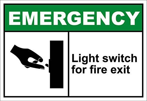 BDTS Metal Tin Sign 12x16 inches Light Switch for Fire Exit Emergency OSHA/ANSI Aluminum Metal Sign