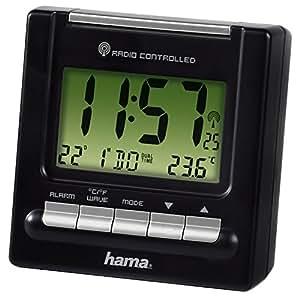 Hama Reise Funk Wecker RC200 (Thermometer, Hintergrundbeleuchtung, zwei Weckzeiten