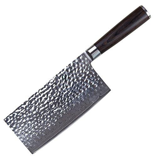 cleenbo® chinesisches Profi Kochmesser, Cleaver 67 lagiges Damastmesser gehämmerte Oberfläche, Hackmesser Damast Klingenkern aus japanischem VG-10 Stahl, Hackbeil handgeschmiedet mit 17,5 cm Klinge