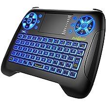 Mini Teclado Retroiluminado Teclado Inalámbrico con Touchpad Mini Keyboard de Juegos Controlador 2.4GHz Teclado Ergonómico con Ratón para Smart TV, PC, Android TV Box, HTPC, IPTV, XBOX, Soporta Windo