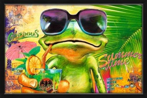 Poster mit Rahmen 61 x 91,5 cm, Holz Schwarz - Cooler Frosch mit Sonnenbrille gerahmt - Antireflex Acrylglas