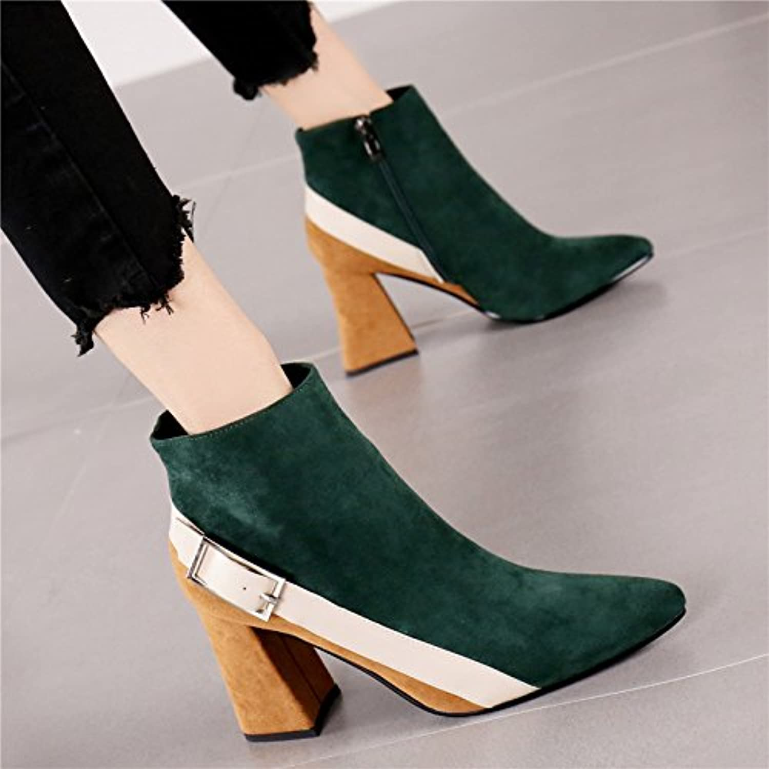 LGK&FA Taskmaster Old Suede High Heel Shoes Female Fashion Color Matching Buckle Martin Boots Short Boots. Thirty-Four...